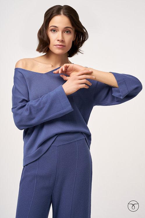 Топ женский с рукавом цвет синий