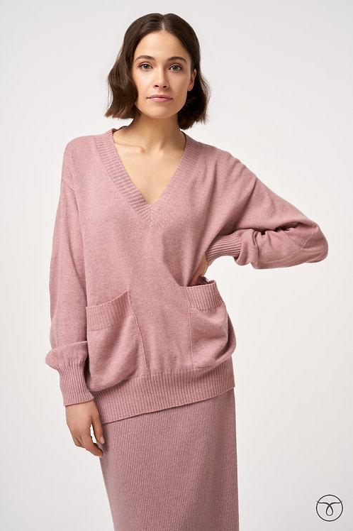 Пуловер кашемировый оверсайз с карманами цвет сирень меланж