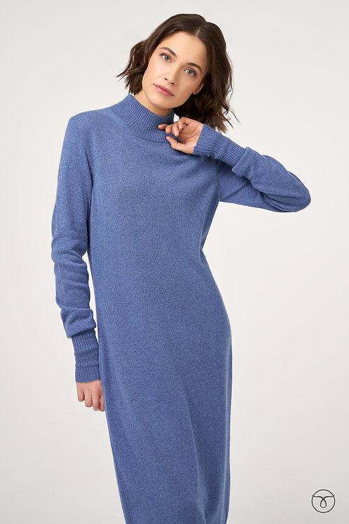 Платье миди из кашемира цвет джинс меланж