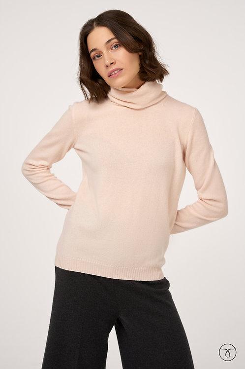 Джемпер кашемировый свободный ворот цвет нежно-розовый