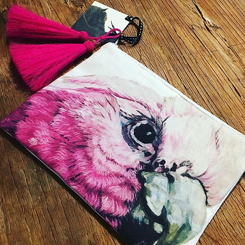 Cocky Clutch - Galah with hot pink tassel