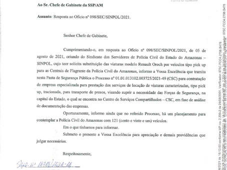 NOTA INFORMATIVA - SINPOL/AM - SUBSTITUIÇÃO DAS VIATURAS