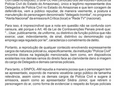 NOTA DE REPÚDIO - DANO À IMAGEM DO CARGO DE DELEGADO E DEMAIS POLICIAIS