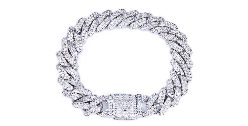 VVS - Bracelet Prong cuban 12MM Or blanc