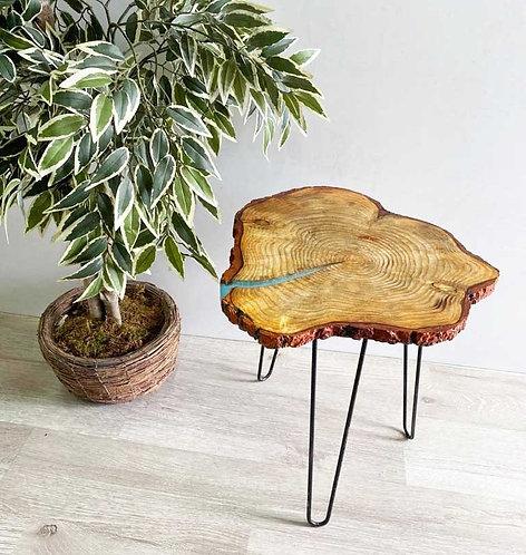 Epoksili Doğal Ağaç Kütük Dekoratif sehpa ( Metal Ayak )