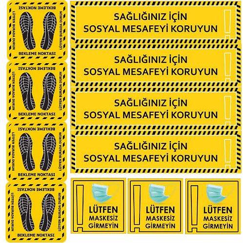 Sosyal Mesafe Uyarı Etikeleri - Sticker