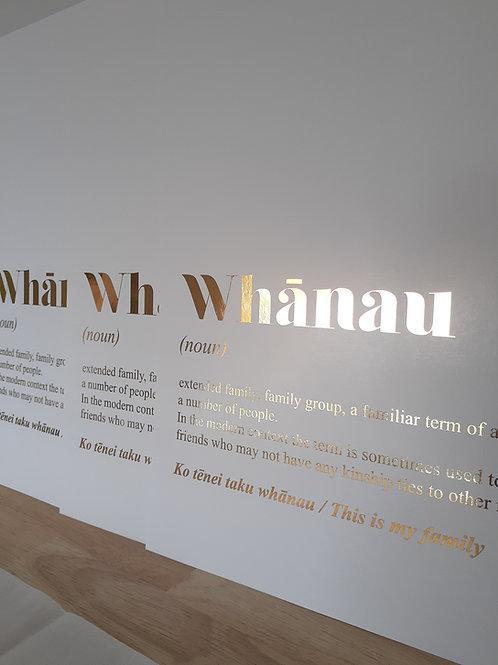 Metallic Gold Whanau Defintion A3