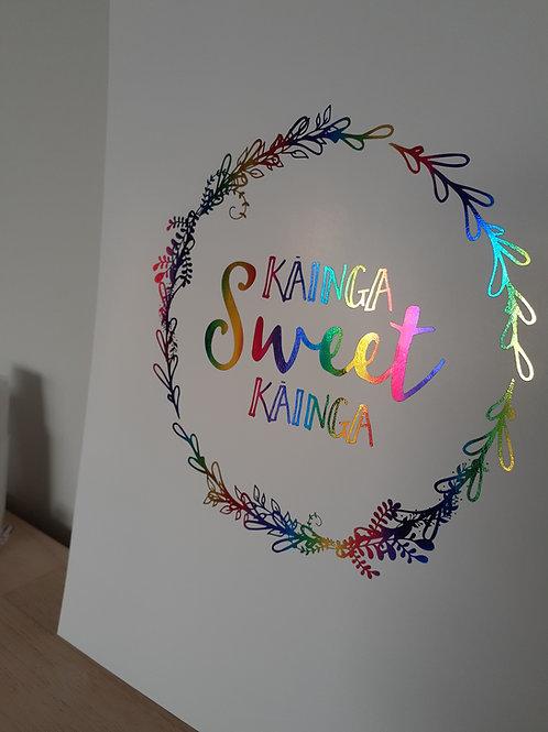 RAINBOW Foil Kāinga Sweet Kāinga A4