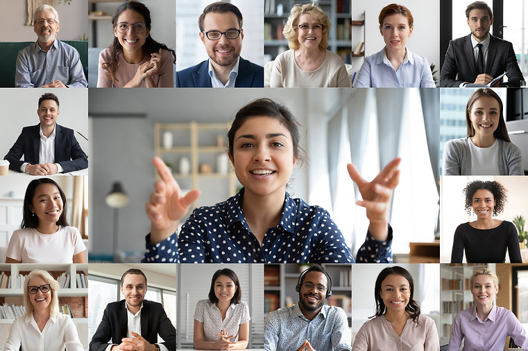 Webcam laptop screen view many faces of diverse people involved in group videoconference o