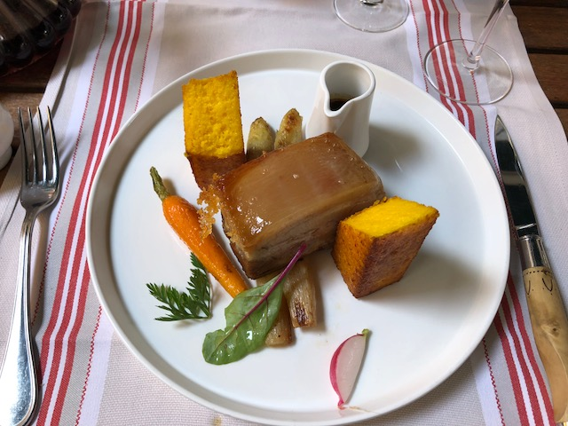 Pork belly with polenta