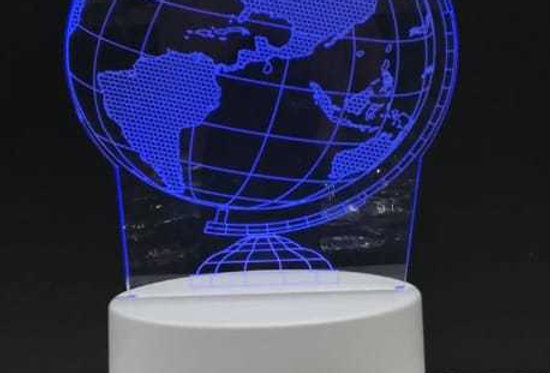 3D Dekoratif Dünya Tasarımlı 7 Renk Değiştiren Gece Lambası