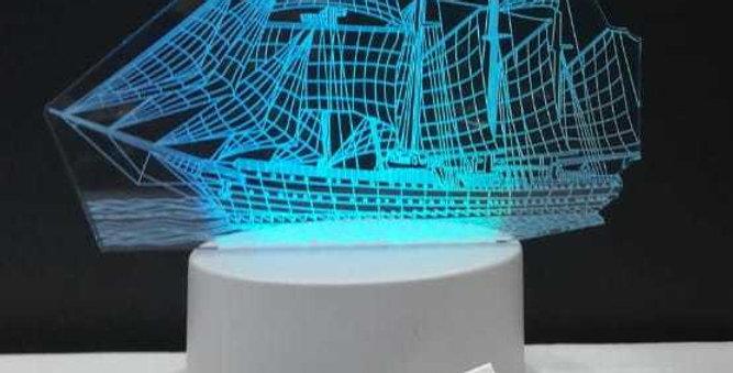 3D Yelkenli Gemi Tasarımlı 7 Renk Değiştiren Gece Lambası