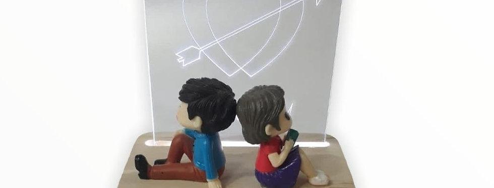 3D Kalp Önünde Oturan Sevgili Dekoratif Gece Lambası