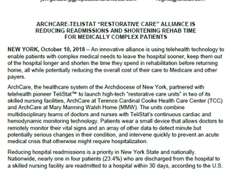 Archcare and TeliStat Announce Alliance