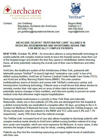 Archcare and TeliStat Announce Alliance