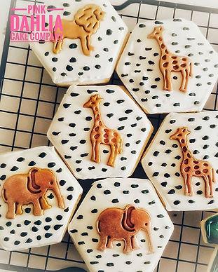 Safari themed baby shower cookies_._#bab