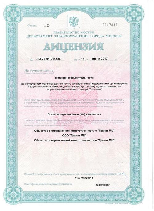 Лицензия МЦ Гранат
