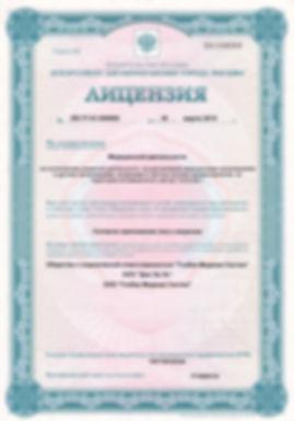 Лицензия психологического центра GMS Clinic