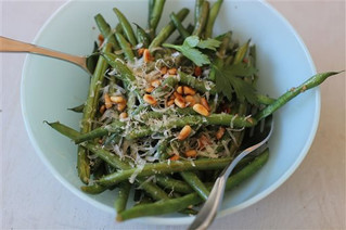 Green Beans with Anchovies, Parmesan and Pine Nuts