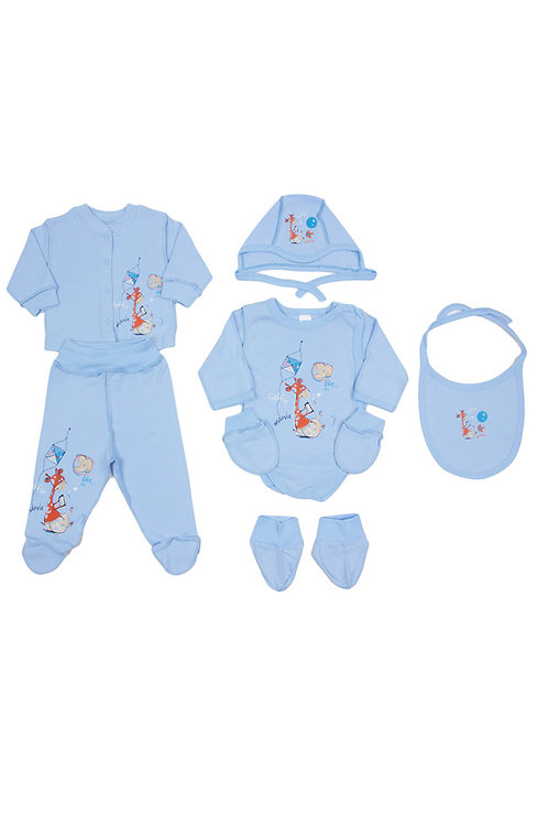 Комплект детский (чепчик\слюнявчик\царапки\пинетки/кофточка\ползунки\боди), цвет
