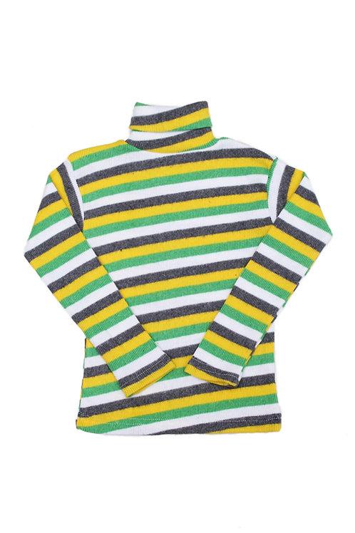 Водолазка для девочки, цвет жёлтый/белый, в полоску