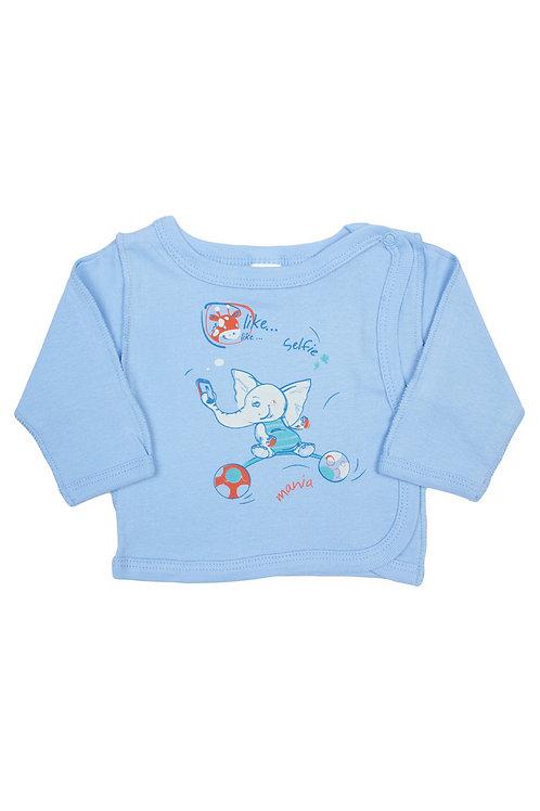 Распашонка для новорожденных, цвет голубой, с принтом