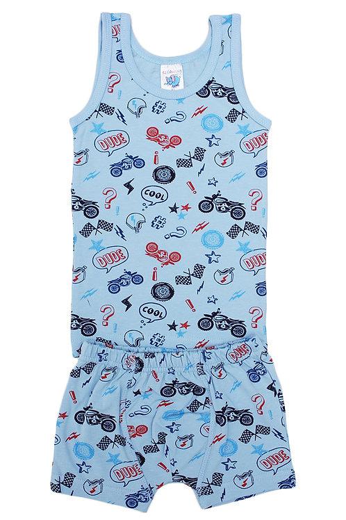 Комплект для мальчика (майка и боксеры), цвет голубой, с принтом