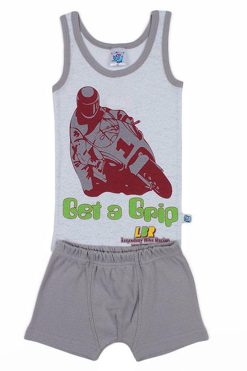 Комплект для мальчика (майка и боксеры), цвет белый/серый, с принтом
