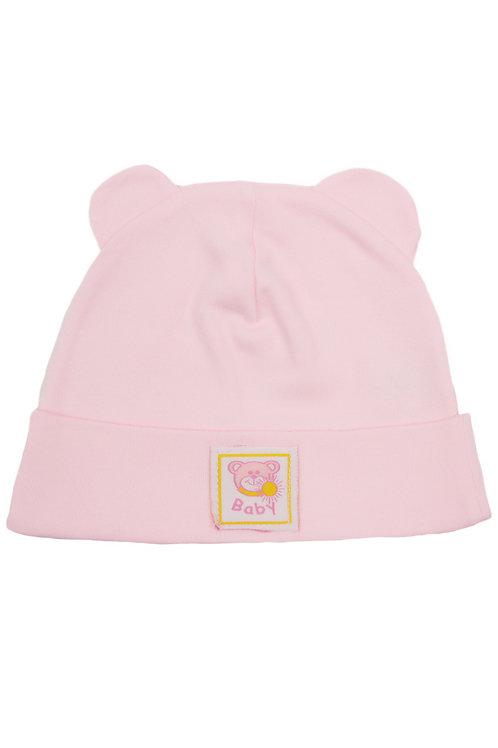 Шапочка детская, цвет розовый, с ушками
