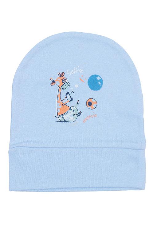 Шапочка детская, цвет голубой, с принтом