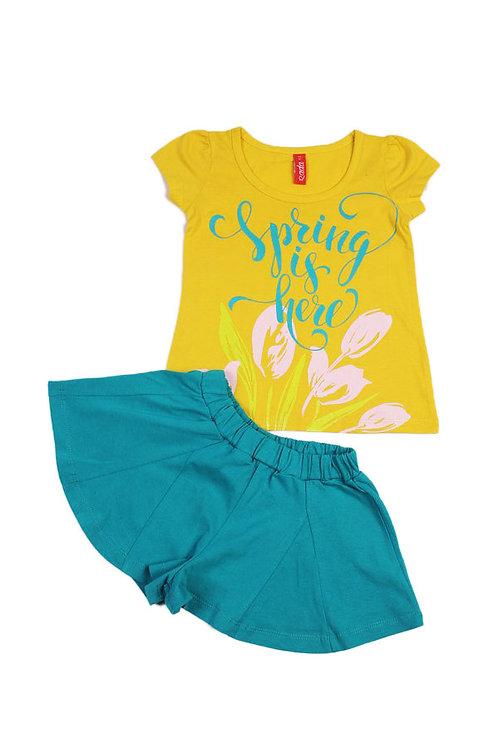 Комплект для девочки (футболка/шорты), цвет жёлтый/зелёный, с принтом