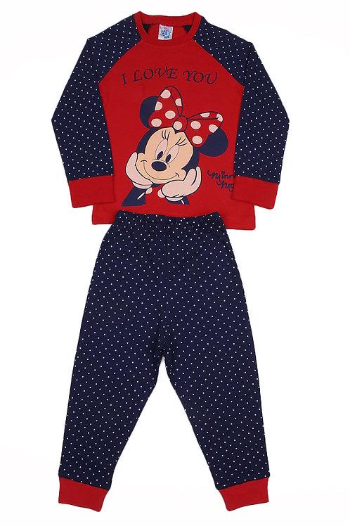 Пижама для девочки, цвет красный/синий, с принтом