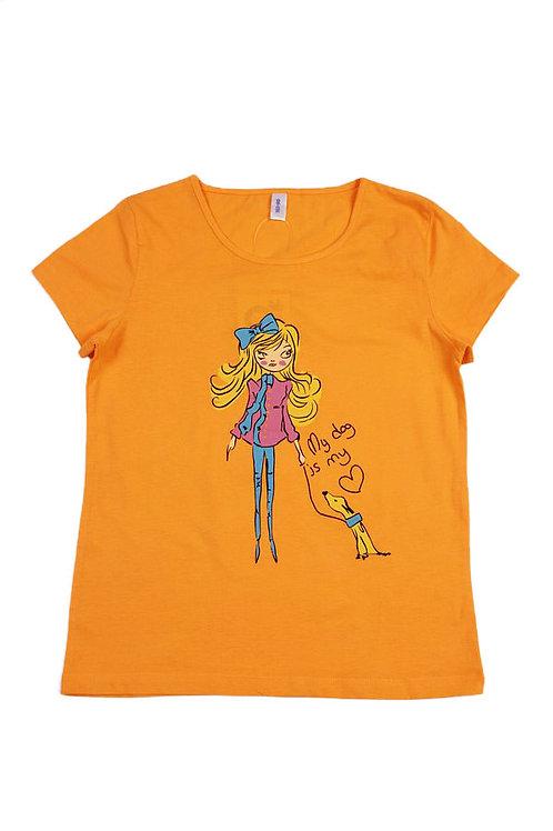 Футболка для девочки, цвет оранжевый, с принтом