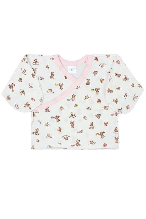 Распашонка детская, цвет белый\розовый, с принтом