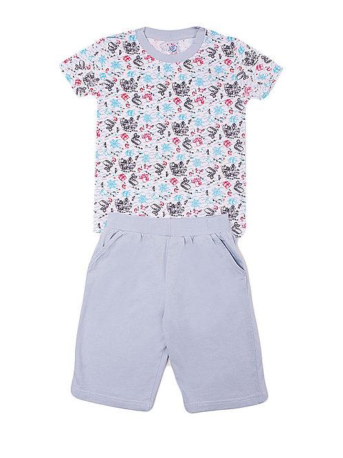 Комплект для мальчика (футболка и шорты), цвет белый, с принтом
