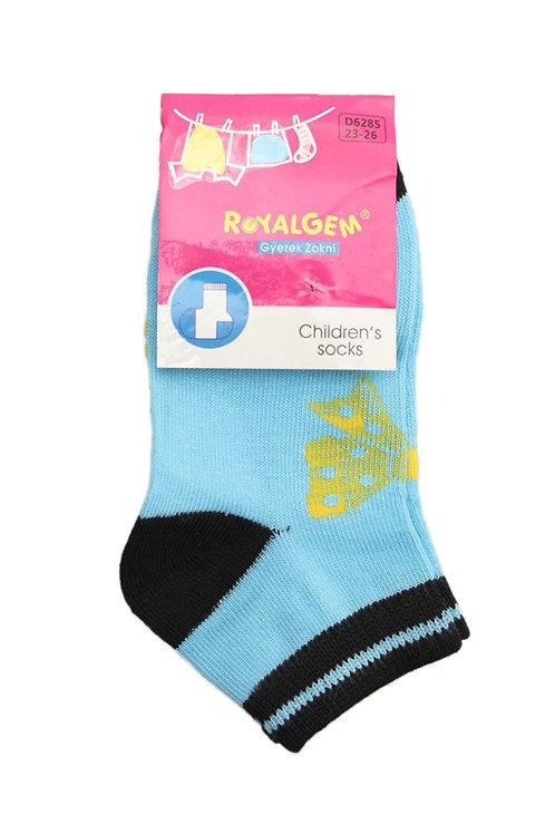 Носки для девочек, цвет голубой/чёрный, с принтом