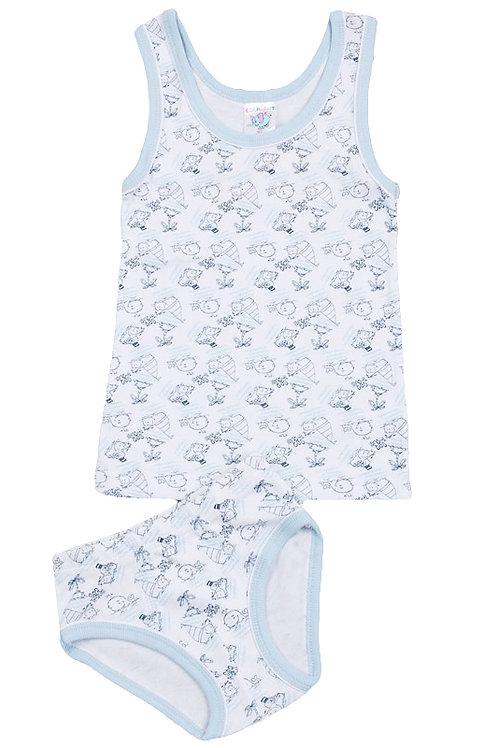 Комплект для мальчика (майка и трусы), цвет белый/светло-голубой, с принтом