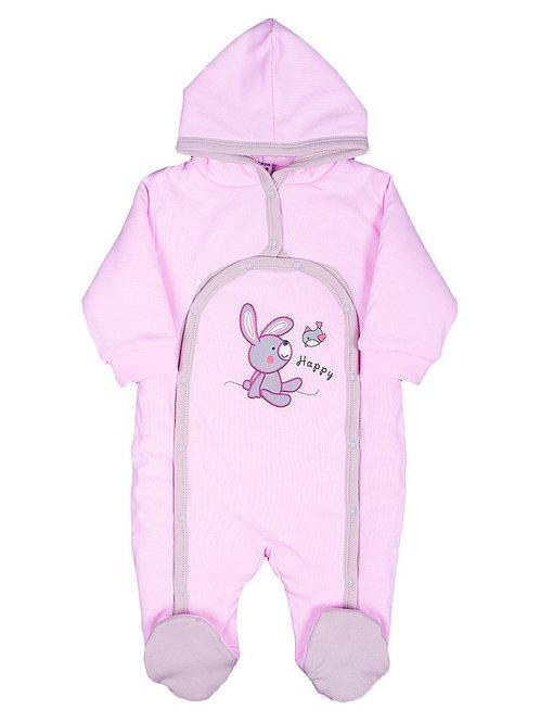 Комбинезон детский утепленный, цвет розовый, с принтом