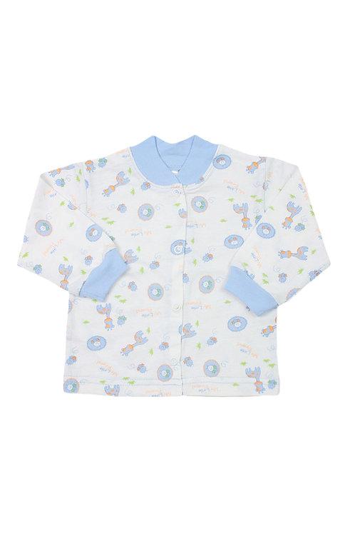 Кофточка детская, цвет молочный\голубой, с принтом
