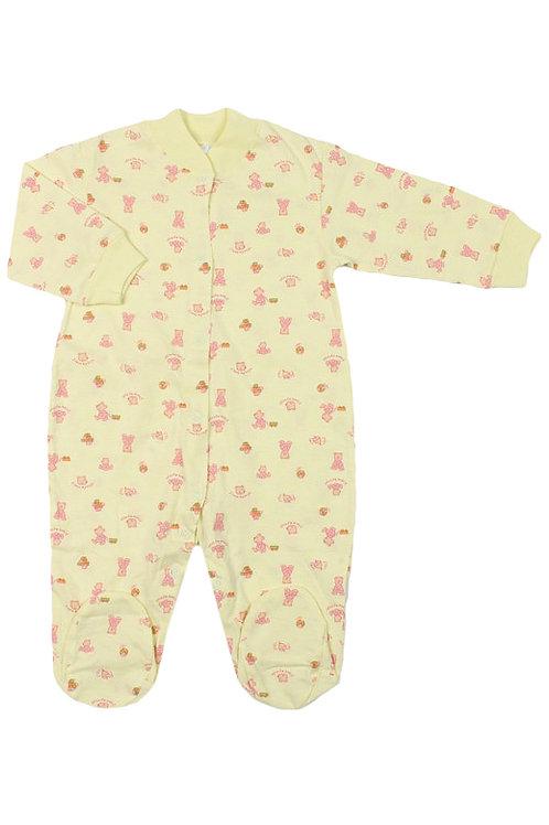 Комбинезон детский, цвет жёлтый, с принтом