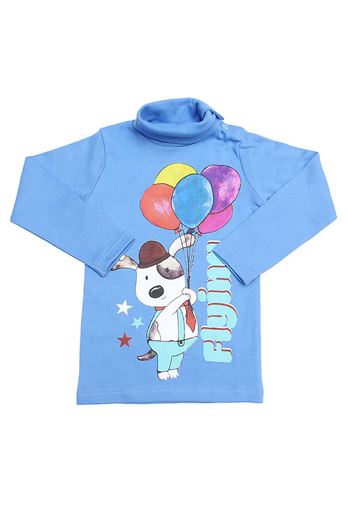 Водолазка для мальчика, цвет голубой, с принтом