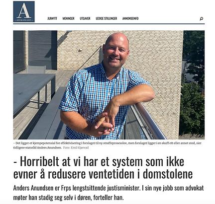 Anders Anundsen domstoler, lang vedetid, advokatfirma lønnum