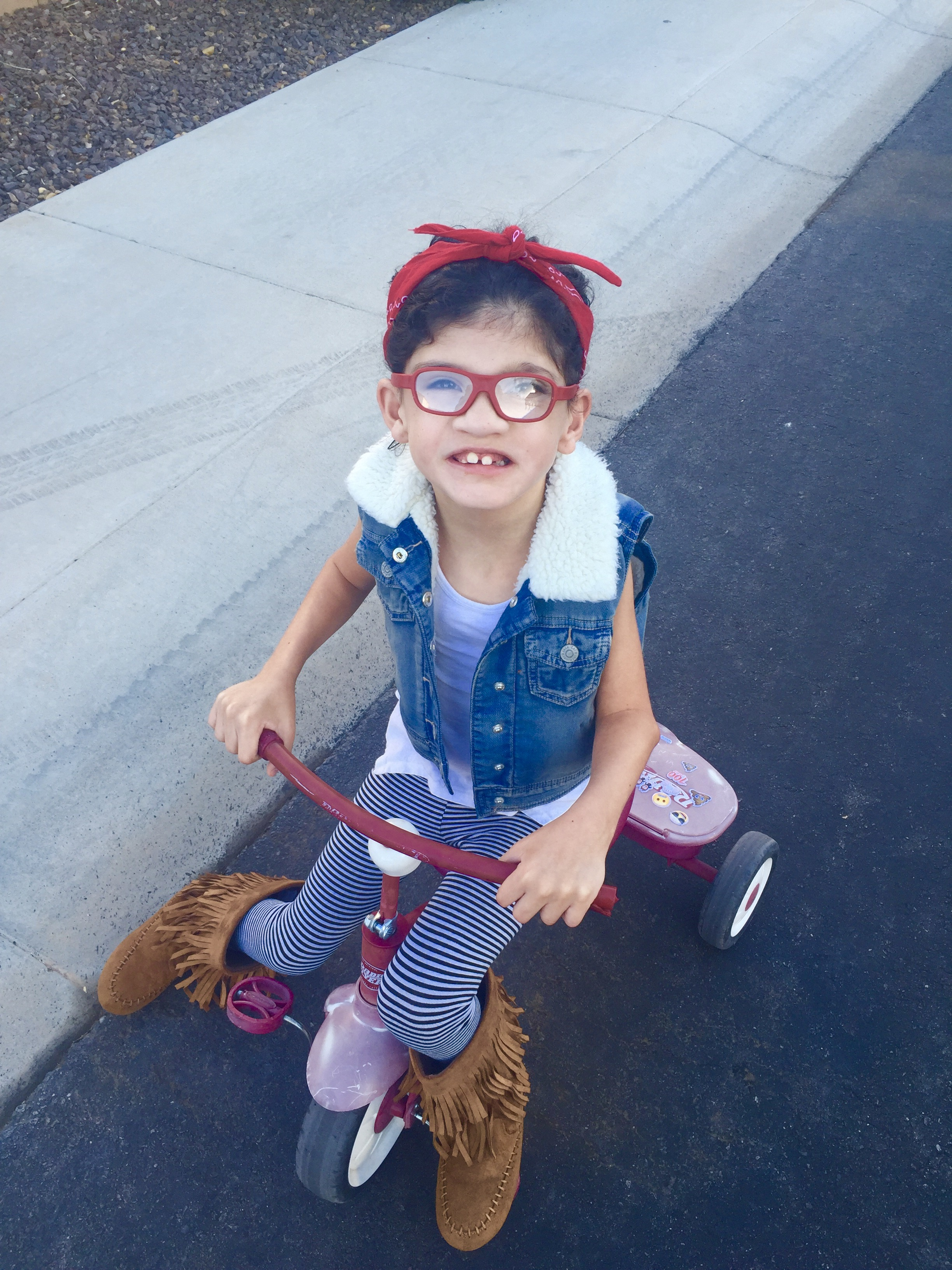 Maggie on bike