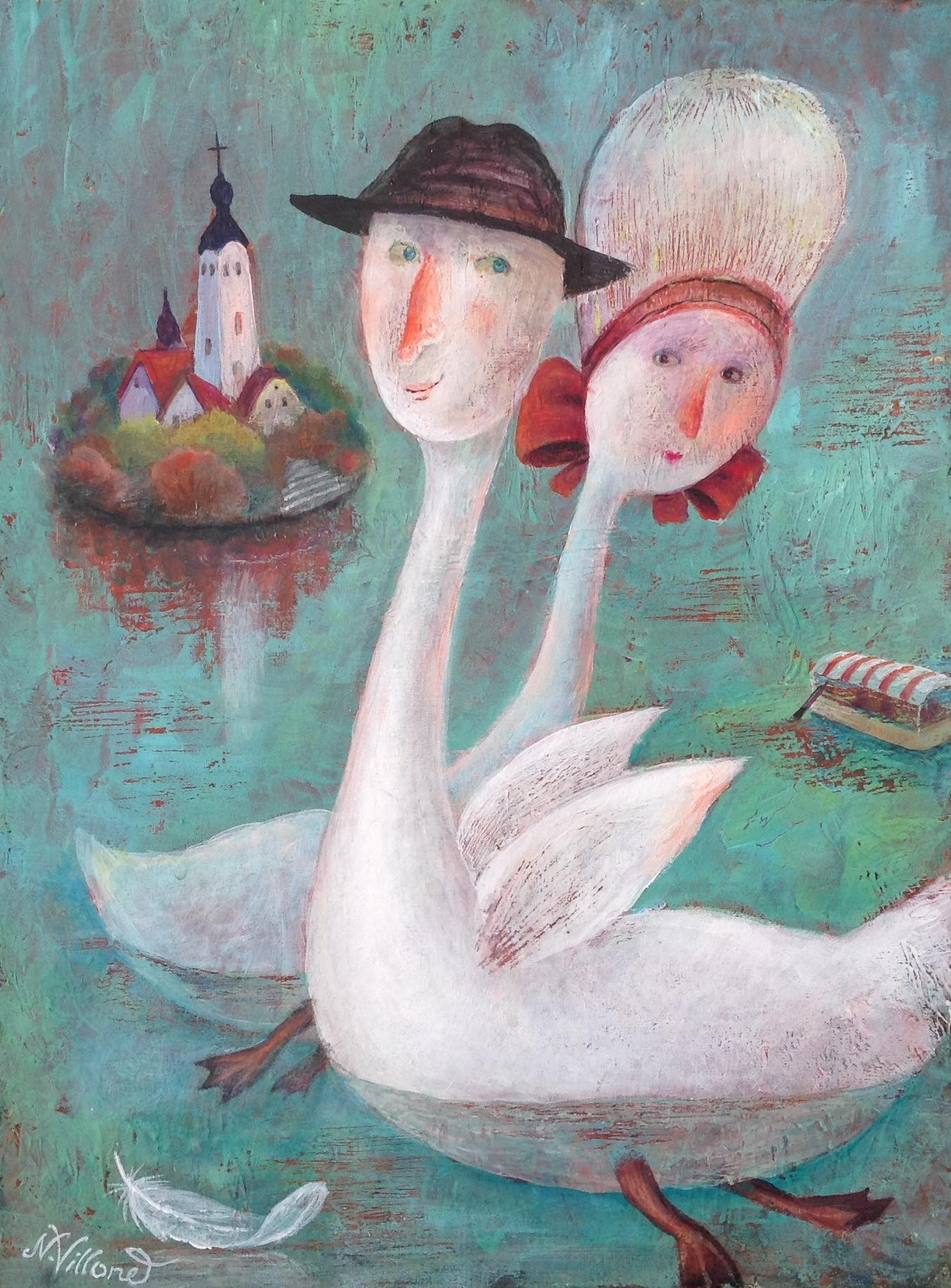 Bled swan heads