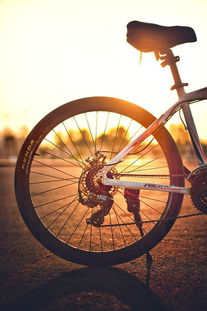 bike tire with sunset in background