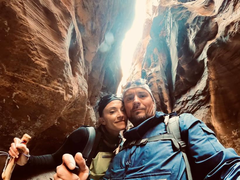 Jessica and her husband hiking