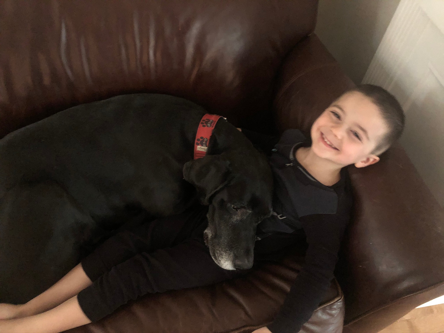 Kristin's son cuddling the dog on the couch