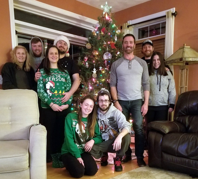 Kevin and his family on Christmas