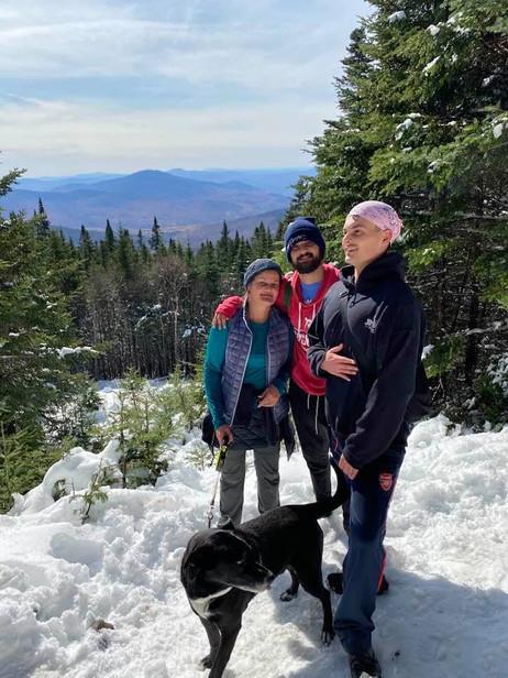 Andrei hiking Mt Monodnock in winter