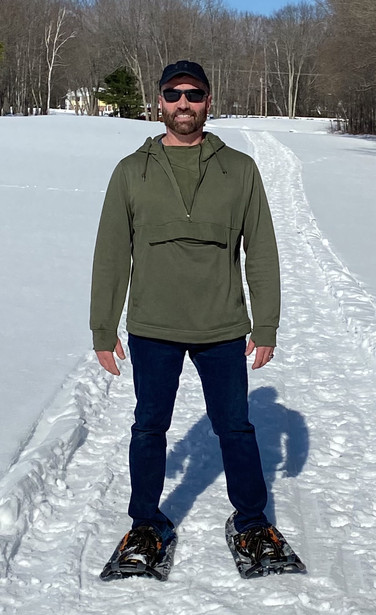 Kevin snowshoeing in the winter